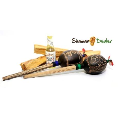 Set shamanico(palo santo incienso, agua florida and maracas) REIKI ANDINO