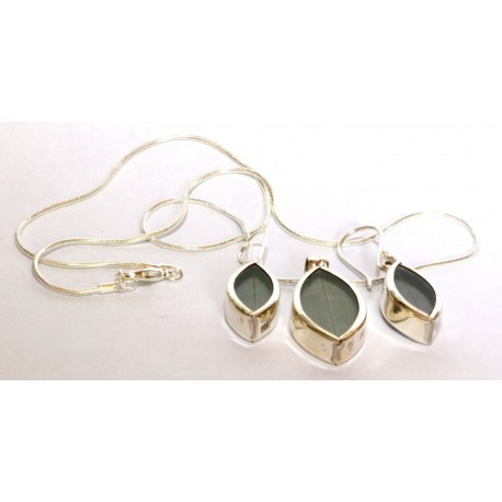 Real Coca leaves jewelry set pendant and earrings from Peru silver 950 OTHER PERUVIAN HANDICRAFTS