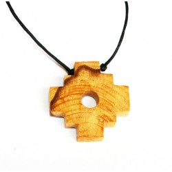 Palo santo bursera graveolens Hand made Chakana, Inka cross Pendant Necklace from Peru PALO SANTO ART